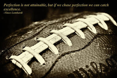 Vince Lombardi Perfection Quote Poster by David Patterson