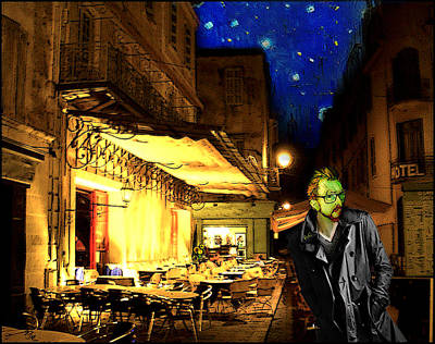 Vincent At The Cafe At Night Poster by Jose A Gonzalez Jr
