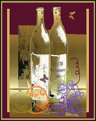 Vin, Fruit, Et Papillons Poster