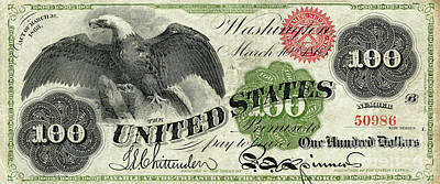 Vintage $100 Bill Circa 1863 Poster by Jon Neidert