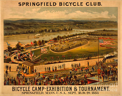 Vintage 1883 Springfield Bicycle Club Poster Poster by John Stephens