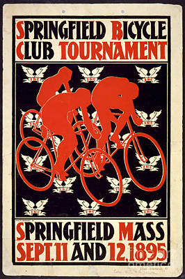 Vintage 1895 Springfield Bicycle Club Poster Poster by John Stephens
