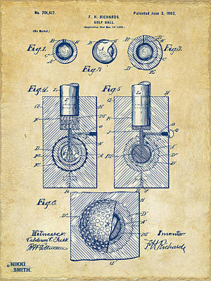 Vintage 1902 Golf Ball Patent Artwork Poster by Nikki Marie Smith