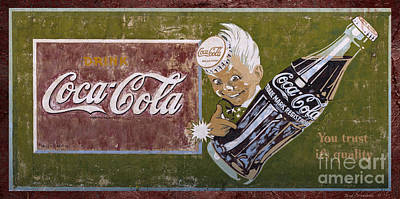 Vintage 1916 Hand Painted Coca Cola Sign Poster by John Stephens