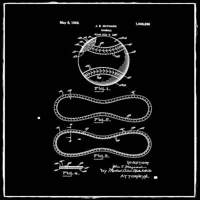 Vintage 1928 Baseball Patent Black Poster