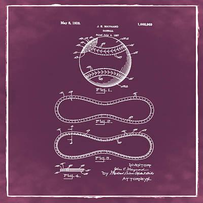 Vintage 1928 Baseball Patent Red Poster