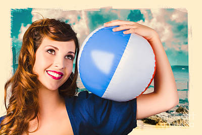 Vintage 1950 Era Pin-up Woman With Beach Ball Poster by Jorgo Photography - Wall Art Gallery