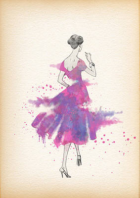 Vintage 1950s Dress Pattern Petite Bust  Poster by Diana Van