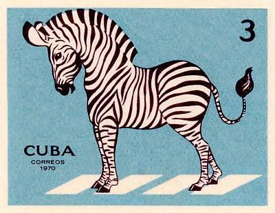 Vintage 1970 Cuba Zebra Postage Stamp Poster