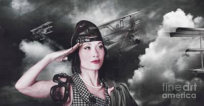 Vintage Air Force Fighter Pilot Saluting Poster