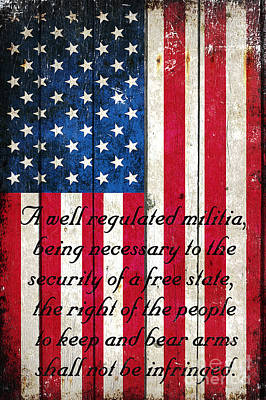Vintage American Flag And 2nd Amendment On Old Wood Planks Poster