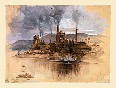 Vintage Antique Bethlehem Steel Factory Poster