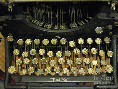 Vintage Antique Typewriter - Text Me - Antique Typewriter Keys Print Black And Gold Poster by Kathy Fornal