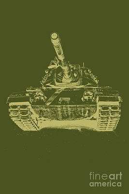 Vintage Army Tank Poster by Emily Kay