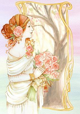 Vintage Art Nouveau Flower Lady Poster