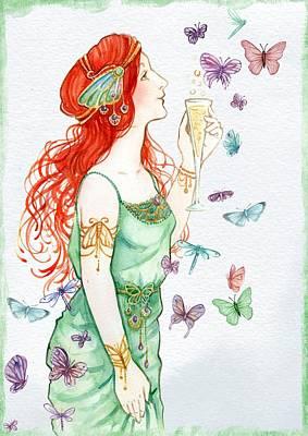 Vintage Art Nouveau Lady Party Time Poster