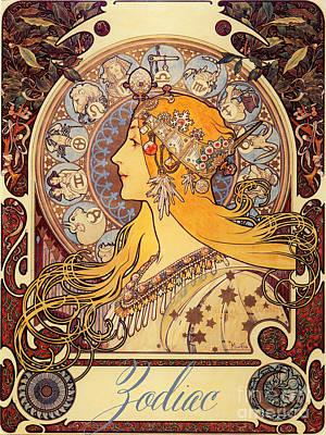 Vintage Art Nouveau Zodiac Poster by Mindy Sommers