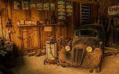 Vintage Auto Repair Garage With Truck And Signs Poster