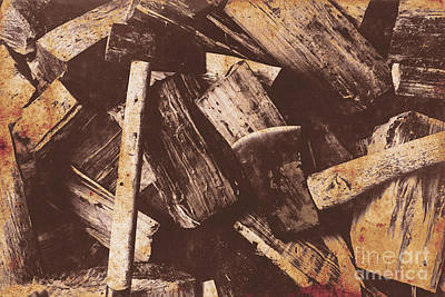Vintage Axes With On Cut Wood Poster by Jorgo Photography - Wall Art Gallery