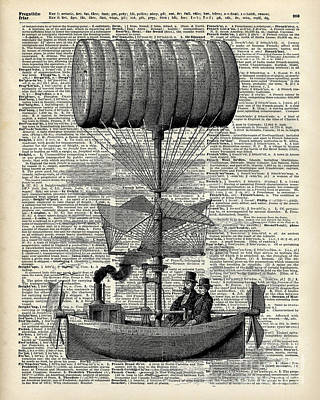 Vintage Ballon Airship  Over A Old Dictionary Page Poster