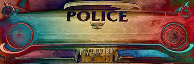 Vintage Baltimore Police Department Car Poster