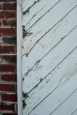 Vintage Barn Door And Red Brick Poster
