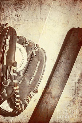 Vintage Baseball Bat Mitt And Ball Poster by Jorgo Photography - Wall Art Gallery