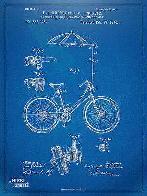 Vintage Bicycle Parasol Patent Artwork 1896 Poster