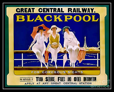 Vintage Blackpool - Railway Travel Poster Poster by Ian Gledhill