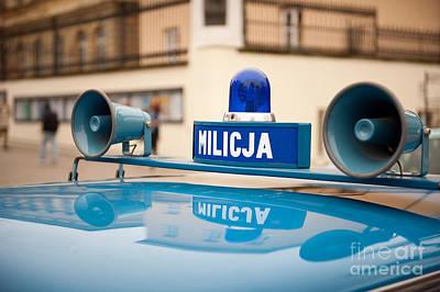 Vintage Blue Militia Car Cherry Poster by Arletta Cwalina