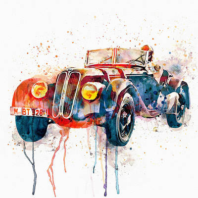 Vintage Bmw Watercolor Poster by Marian Voicu