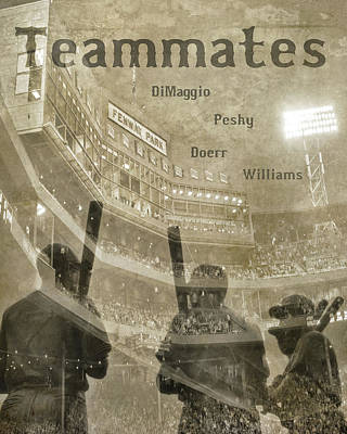 Vintage Boston Red Sox Fenway Park Teammates Statue Poster by Joann Vitali
