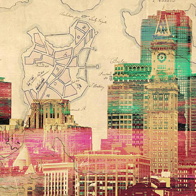 Vintage Boston Skyline Poster