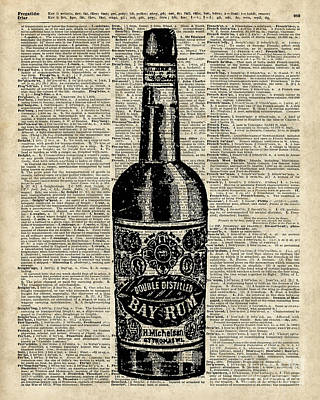 Vintage Bottle Of Rum Over Antique Book Page Poster
