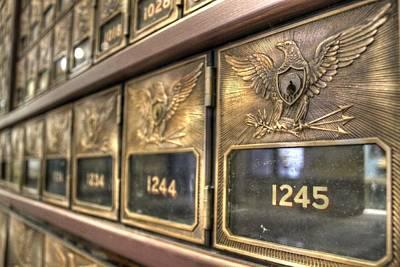 Vintage Brass Post Offic Mail Box Federal Eagle Postal Usps Poster by Jane Linders