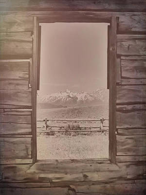 Vintage Cabin Window In Grand Tetons Poster