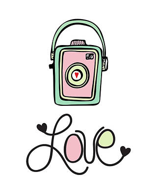 Vintage Camera Love Poster by Colleen VT