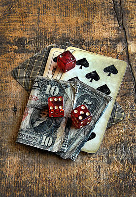 Vintage Cards Dice And Cash Poster by Jill Battaglia
