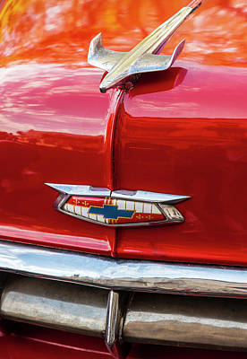 Poster featuring the photograph Vintage Chevy Hood Ornament Havana Cuba by Charles Harden