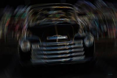 Vintage Chevy Truck Neon Art Shaken Poster