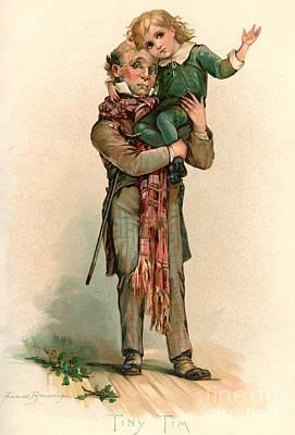 Vintage Christmas Card Depicting Bob Cratchit Carrying Tiny Tim Poster by Frances Brundage
