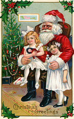 Vintage Christmas Card Depicting Two Victorian Girls With Santa Claus Poster by American School