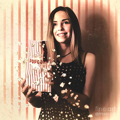 Vintage Cinema Girl With Movie Popcorn. Retro Film Poster