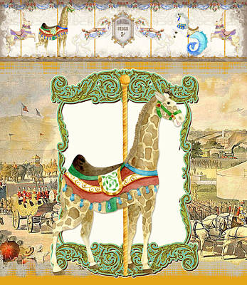 Vintage Circus Carousel - Giraffe Poster by Audrey Jeanne Roberts