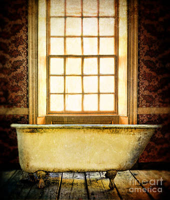 Vintage Clawfoot Bathtub By Window Poster
