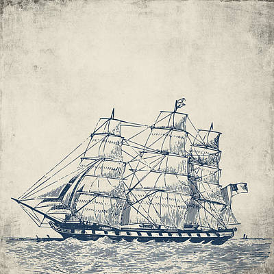 Vintage Clipper Ship V1 Poster by Brandi Fitzgerald