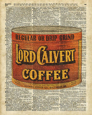 Vintage Coffee On Dictionary Page Poster by Jacob Kuch