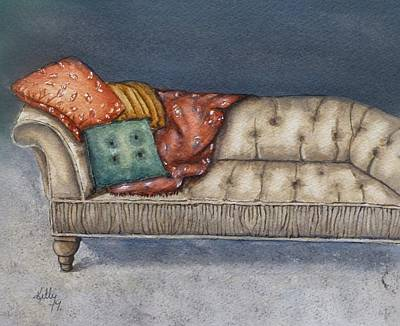 Poster featuring the painting Vintage Comfy Couch by Kelly Mills