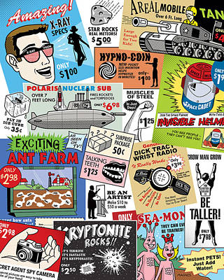 Vintage Comic Book Ads Poster