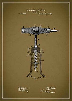 Vintage Corkscrew Design Poster by Mark Rogan